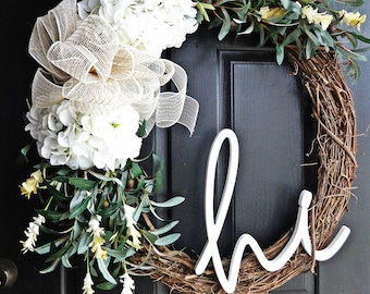 Extra Large Welcome Wreath, Summer Wreath, Olive Branch Wreath, 24 Inch Wreath, Hi Sign, Wreath with Hi Sign, Porch Wreath, Front Door