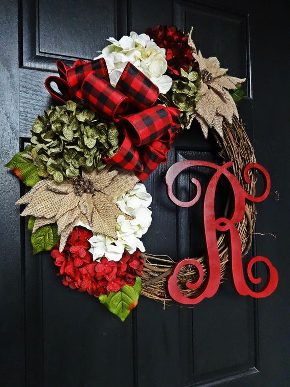 The Lovely Red Rustic Christmas Wreath, Red Check Winter Wreath, Poinsettia and Hydrangea Wreath, Holiday Wreath, Burlap Flower Wreath