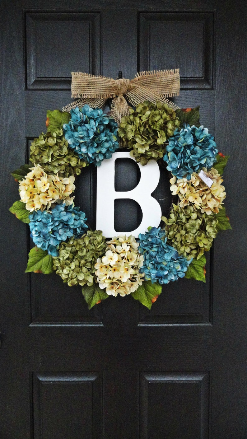 Large Full Customizeable Hydrangea Door Wreath For Spring Etsy