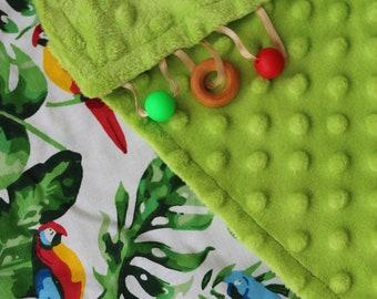 Monstera Leaf Green Baby Blanket/Tropical Baby Blanket/Tropical Minky Blanket/Tropical Nursery Bedding/Tropical Baby Bedding/Baby Gift