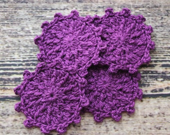 Crochet Face Scrubbies Purple Tone/Reusable Rounds/Makeup Removers/Women's Stocking Stuffers/Gifts For Her/Gift for Mom/Makeup Reusable Pads