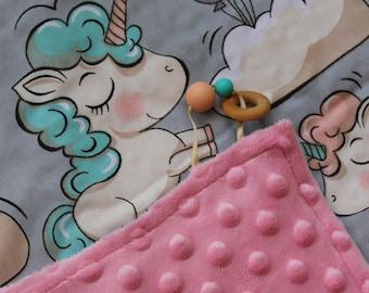 Unicorn Pink Minky Baby Blanket/Unicorn Baby Blanket/Unicorn Nursery Bedding/Unicorn Baby Bedding/Pink Minky Blanket/Unicorn Minky Blanket