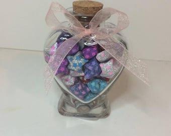 Small Heart Lucky Star Jar W Multicolored Glitter Stars