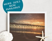 Sunrise Photography, Hipster Pier, gift for surfer, beach art, beach house decor, coastal cabin, walks on the beach, surf