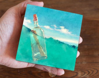 Ocean painting, 4x4, watercolor painting, watercolors, water art, message in a bottle, lost at sea, ocean waves, coastal colors, beachy
