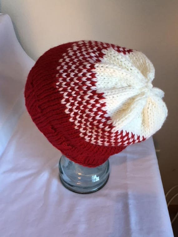 0615c52d05b Red White Hand Knit Slouchy Beanie Hat