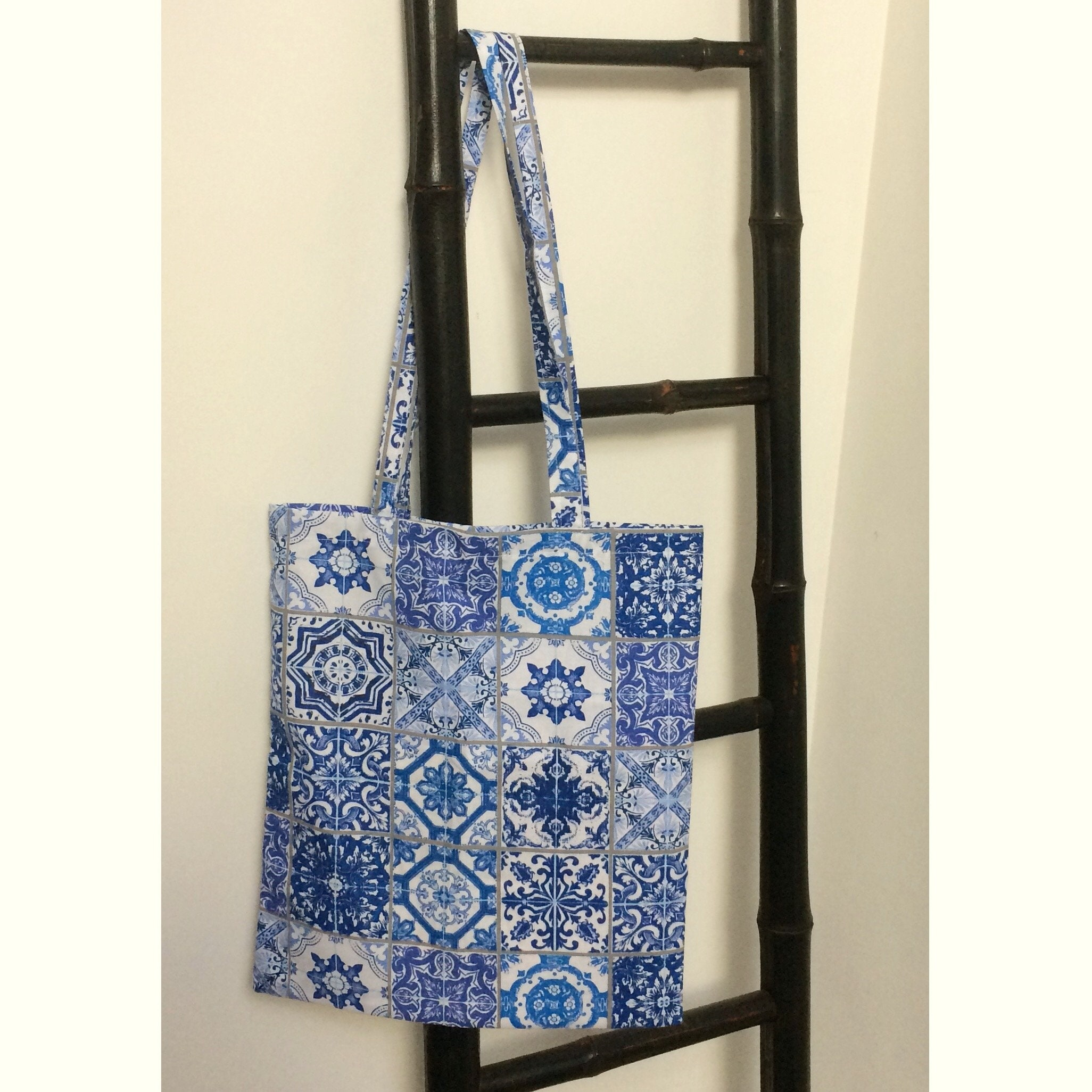 9a4ab3db5c Navy tote bag blue Lisbon cotton shopping bag