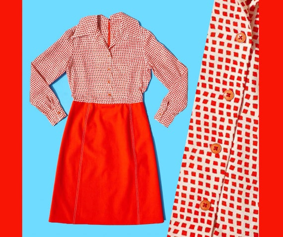 1960s Red & White long sleeve Grid/ Square Speckle
