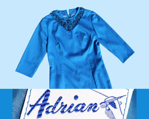 "1960s Bedazzled Beaded Blue ""Adrian"" Toronto Party"