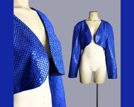 """1990s Jazzy Blue Sequin """"Asable Holland"""" Cropped O"""