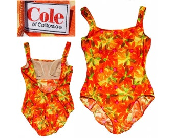 1970s Cole of California XL Orange & Yellow Floral Swimsuit