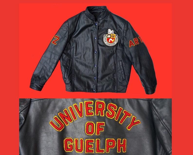 1992 unisex university of guelph arts leather jacket etsy