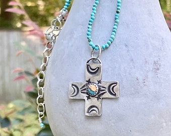 Sterling Cross + Tiny Faceted Turquoise Beaded Necklace . Sterling Silver Extender . Dainty Necklace