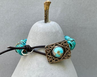 Turquoise Sterling Bracelet  . Southwestern Design . Sterling + Brass Turquoise Button