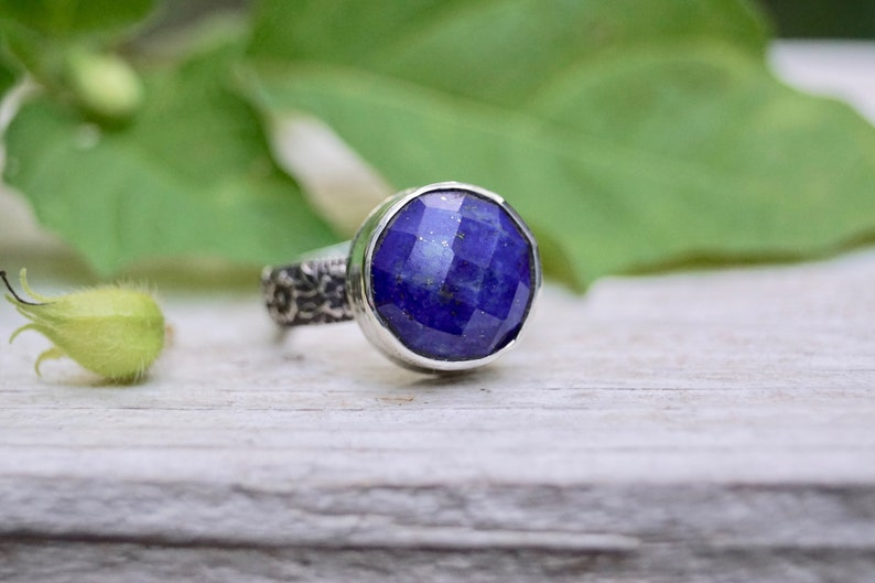 Sterling Faceted Lapis Statement Ring. Handmade  . Rustic . image 0