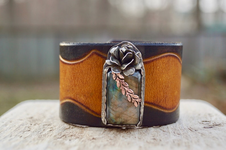 Wide Labradorite Leather & Sterling . Boho. South Western image 0