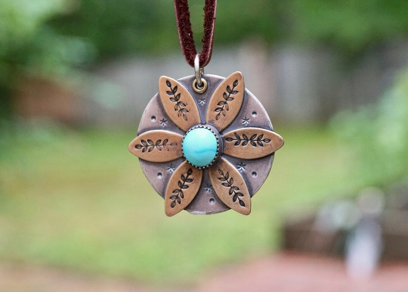 Sterling Silver Turquoise Daisy Necklace . Flower. Hand image 0