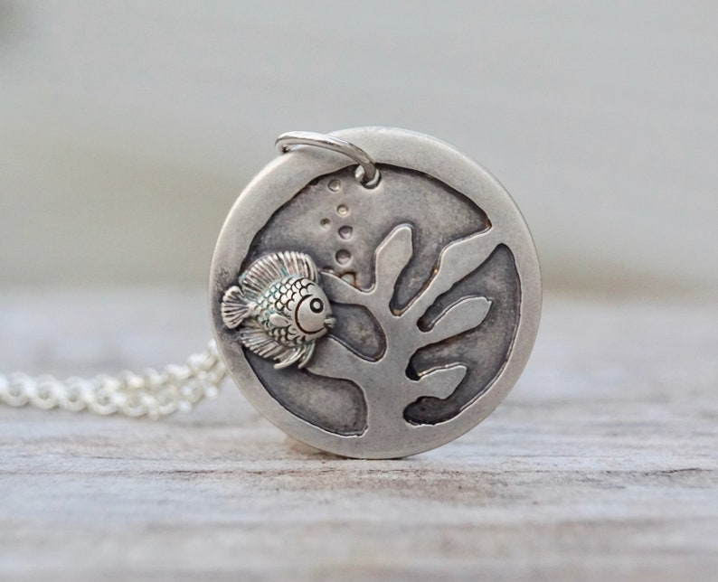 Sterling Silver Under The Sea . Necklace . Celestial . Hand image 0