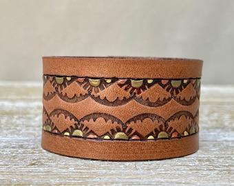 Stamped Leather Wide Cuff Bracelet . South Western Design . Bracelet. Snap Closure