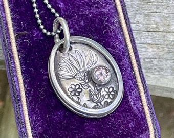 Sterling Daisy Necklace . Stamped . Purple Crystal . Simple .Rustic. Necklace .