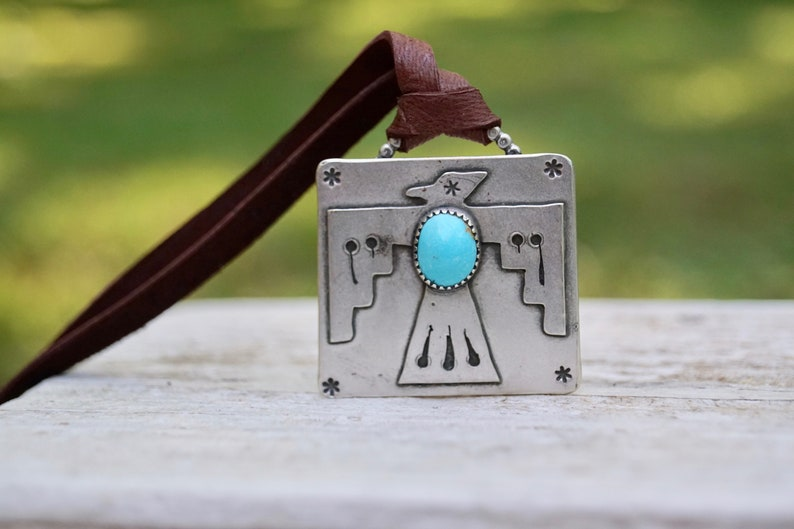 Thunderbird Kingman Turquoise Sterling Silver Necklace . Heavy image 0