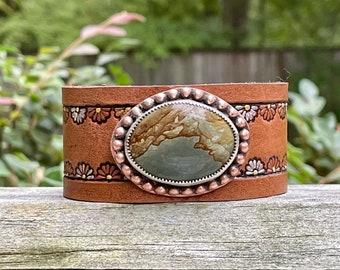 Stamped Leather Fancy Jasper & Sterling . Copper . South Western Design . Bracelet. Snap Closure