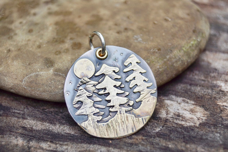 Sterling In The Forest . Night Sky . Stars Moon . Trees . Hand image 0