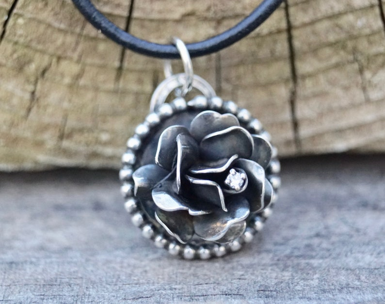 Rose Sterling Silver Necklace. Tiny Crystal. Sterling image 0