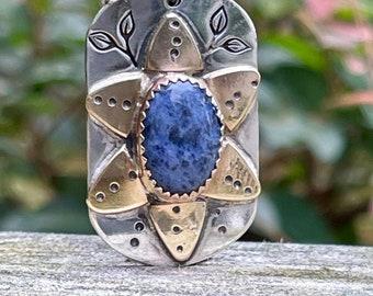 Sterling Silver Flower Pendant . Blue Lapis  . Pendant . Tag