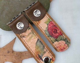 Leather Apple i Watch Band Rustic . Sterling Moon . Handmade . Leather ...42mm . Metal Adaptor 44mm ..Snap Closure