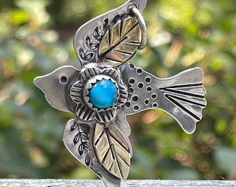 Sterling Silver Bird Pendant . Turquoise . Brass. Pendant