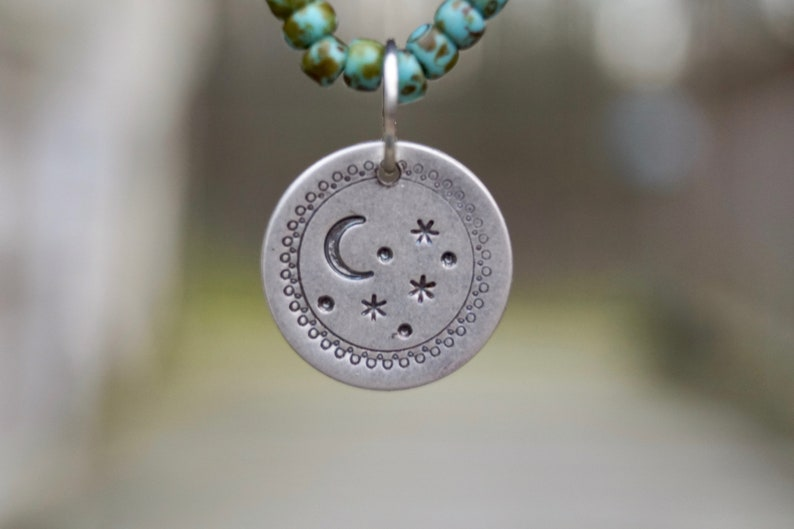 Sterling Stars  Moon Necklace . Beaded Sterling Charm image 0