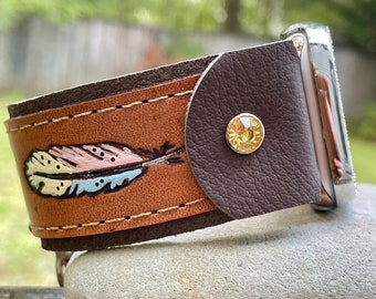 Leather Apple i Watch Band Rustic . Feather. Handmade . Leather ...42mm . Metal Adaptor 44mm ..Snap Closure