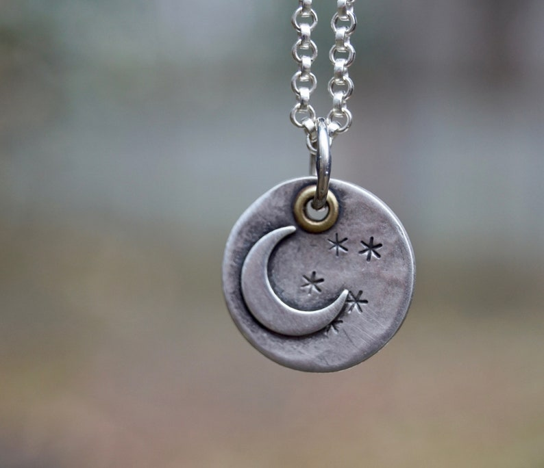 Rustic Moon & Stars Sterling Silver Necklace . Celestial . image 0