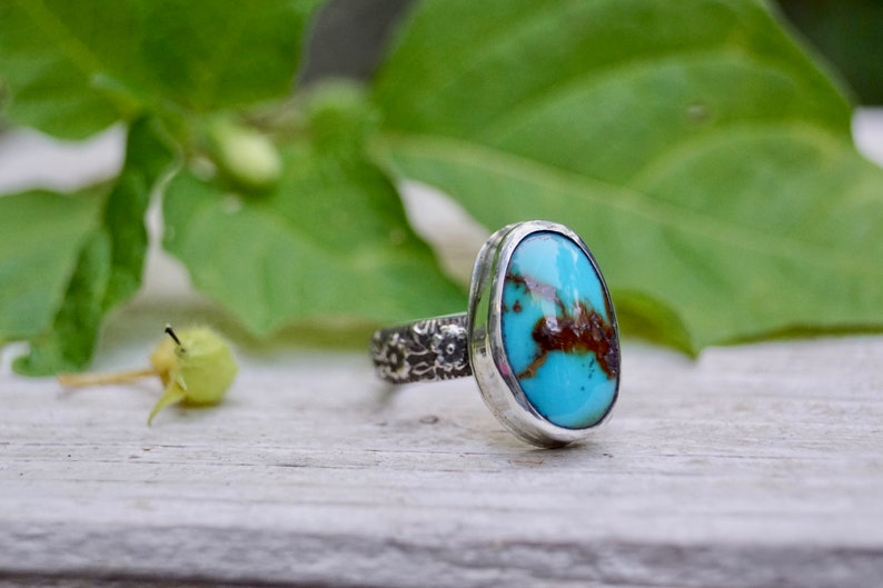 Sterling Sleeping Beauty Turquoise Statement Ring. Handmade  . image 0