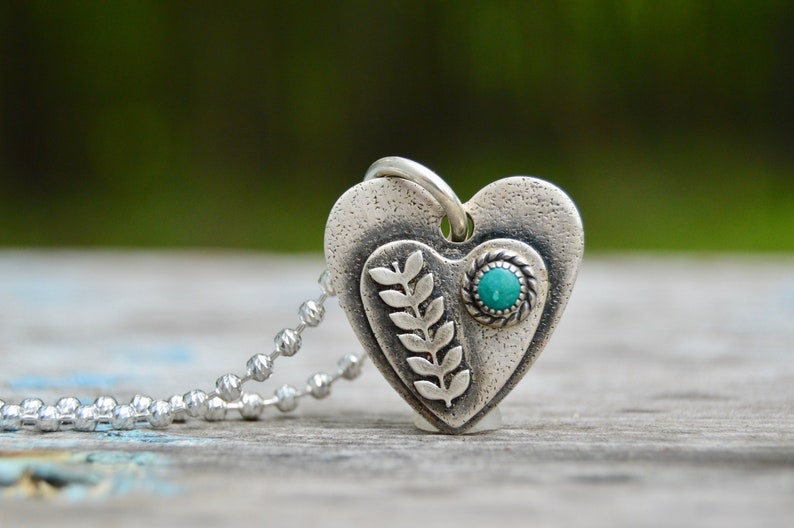Heart Sterling Silver Heart Necklace . Turquoise Flowers. image 0