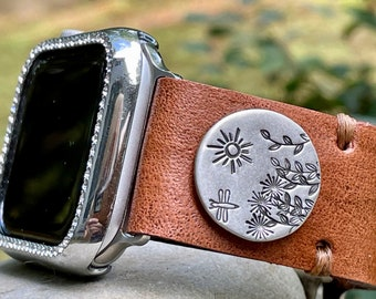 Leather Apple i Watch Band Rustic . Sterling . Flowers. Handmade . Leather ...42mm . Metal Adaptor 44mm ..Snap Closure