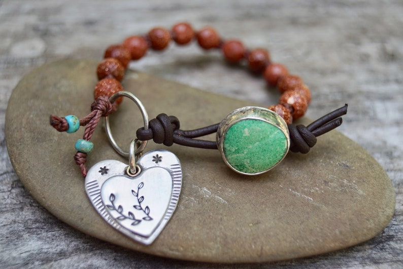 Sterling Turquoise Bracelet . Gem Stone . Sterling Heart image 0