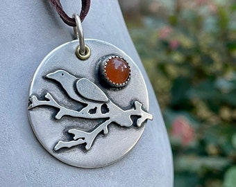 Sterling Bird On Branch Necklace . Carnelian . Simple .Rustic. Necklace . Carnelian