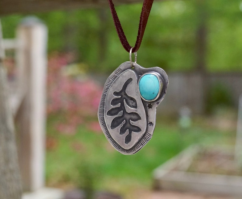 Fern Turquoise Sterling Silver Necklace . Heavy .Rustic. image 0