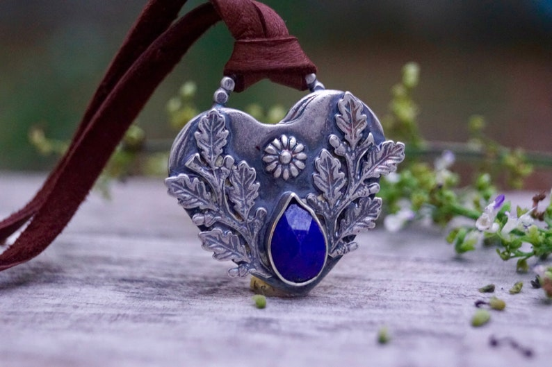 Large Heart Sterling Silver Necklace . Rose Cut Blue Lapis. image 0
