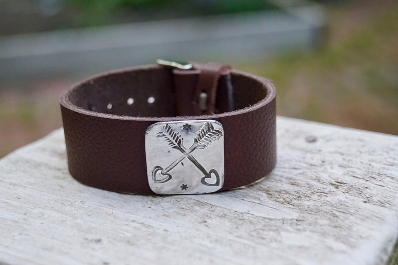 Sterling 2 Arrows Bracelet . Repurposed . Leather . Hand image 0