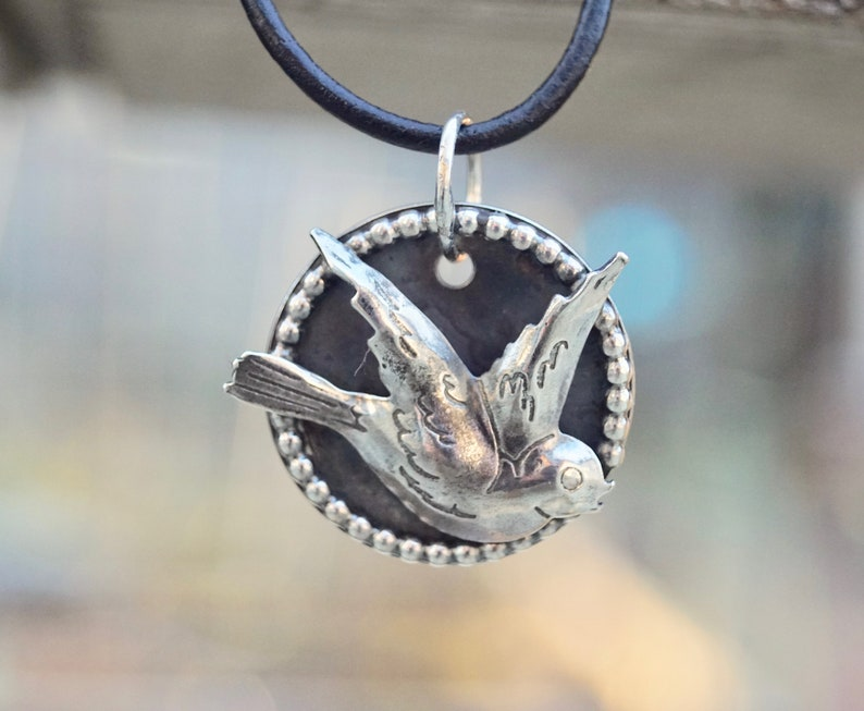 Soaring Bird Sterling Silver Necklace. Etched. Sterling image 0