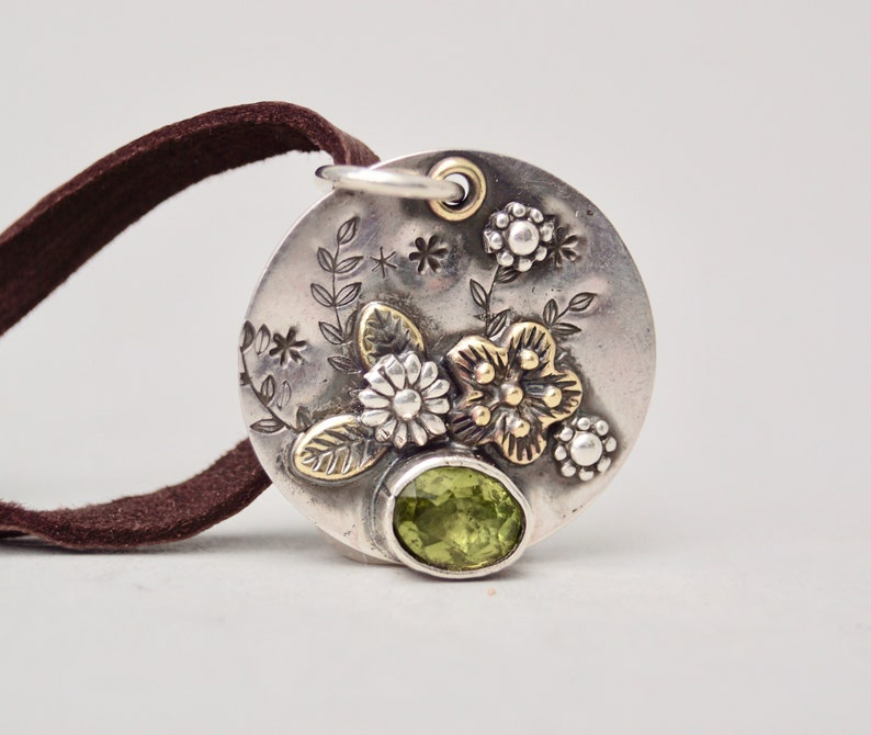 Rustic Flower Garden Sterling Silver Necklace . Green Peridot image 0