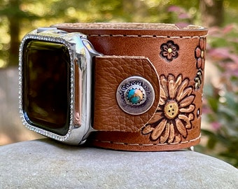 Leather Apple i Watch Band Rustic . Wide Cuff Band . Sterling . Tooled. Handmade . Leather ... 42mm or New 44mm