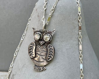Sterling Owl Necklace . Stamped . Crystal . Simple .Rustic. Necklace