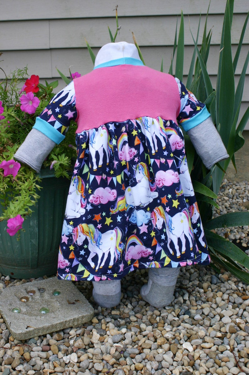 Unicorn Dress CUSTOM ORDER  Pink teal horses party dress