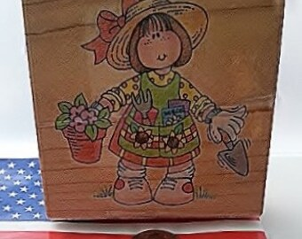 Polly Potter 'Gardener' Stampendous Medium Size Wood Mount Rubber Stamp Q027