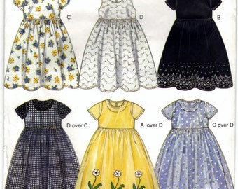 New Look 6850 Pattern Non Vintage Kids Dresses And Robes Six Sizes In One