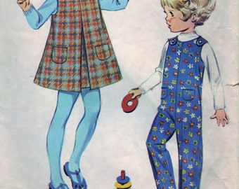 McCall's 2098 Pattern DIY Toddler's Jumper and Coveralls Vintage Sewing Craft Supply Size 6 Months - CUT